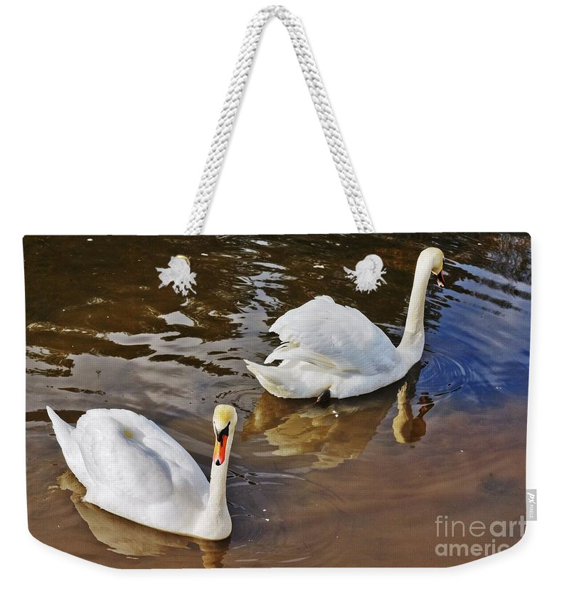 Beautiful Weekender Tote Bag featuring the photograph Two Swans On Spring Water by Vadzim Kandratsenkau