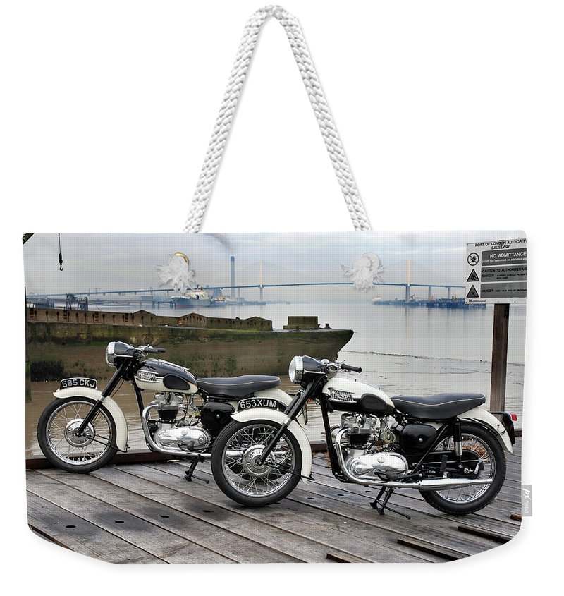Triumph Tiger Weekender Tote Bag featuring the photograph Two Tigers On The Thames by Mark Rogan