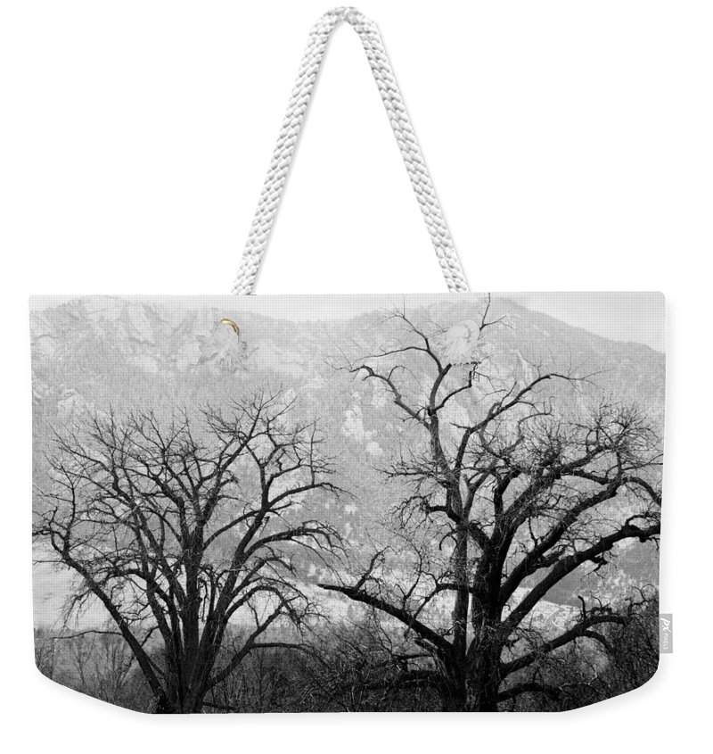 B&w Weekender Tote Bag featuring the photograph Two Trees Flatirons Boulder Colorado by James BO Insogna