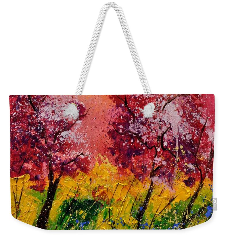 Landscape Weekender Tote Bag featuring the painting Two Trees by Pol Ledent