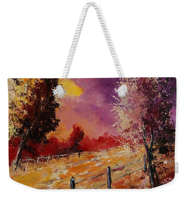 Tree Weekender Tote Bag featuring the painting Two Trees Waiting For The Storm by Pol Ledent