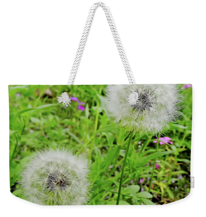 Dandelion Weekender Tote Bag featuring the photograph Two Wishes by D Hackett