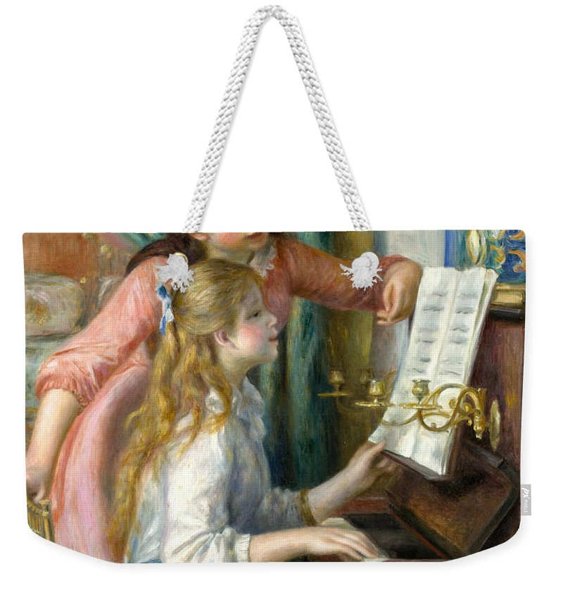 Renoir Weekender Tote Bag featuring the painting Two Young Girls At The Piano, 1892 by Pierre Auguste Renoir