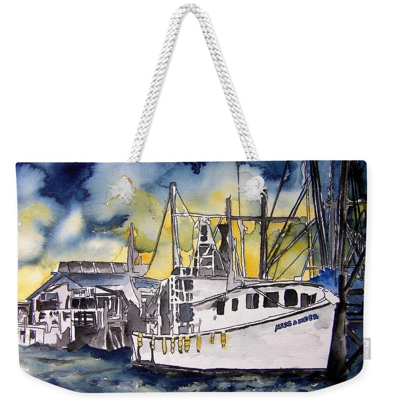 Georgia Weekender Tote Bag featuring the painting Tybee Island Georgia Boat by Derek Mccrea