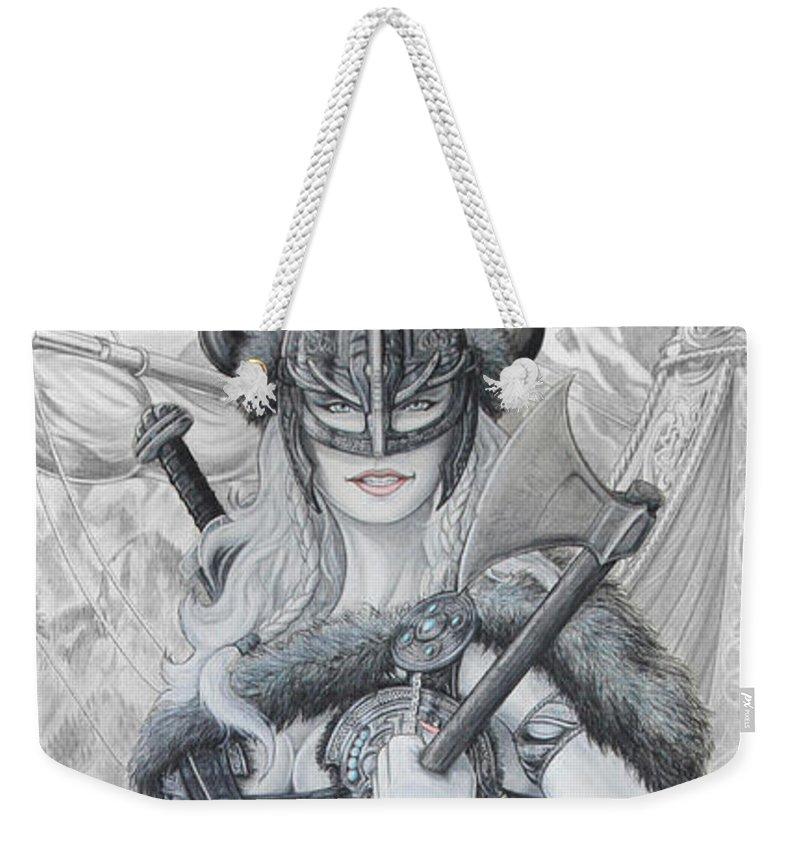 Viking Weekender Tote Bag featuring the drawing Tyryja by Kristopher VonKaufman