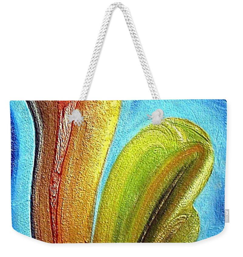 Mixed Media Weekender Tote Bag featuring the mixed media Tzunami by Dragica Micki Fortuna