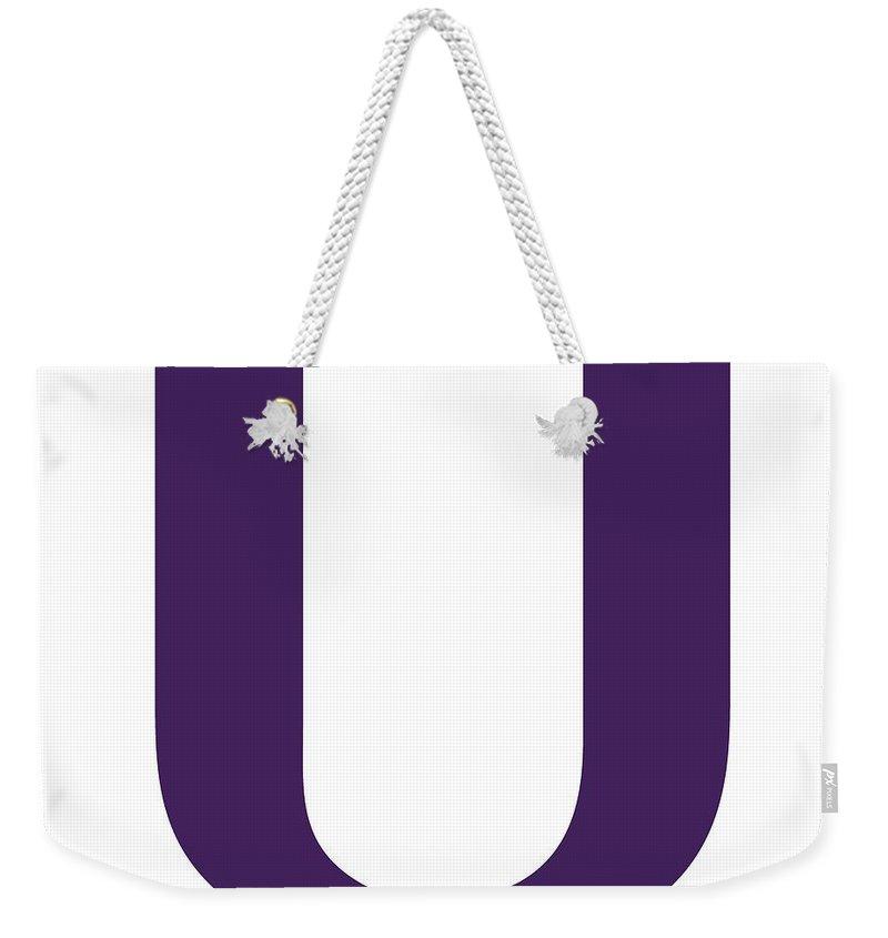 U Weekender Tote Bag featuring the digital art U In Purple Typewriter Style by Custom Home Fashions