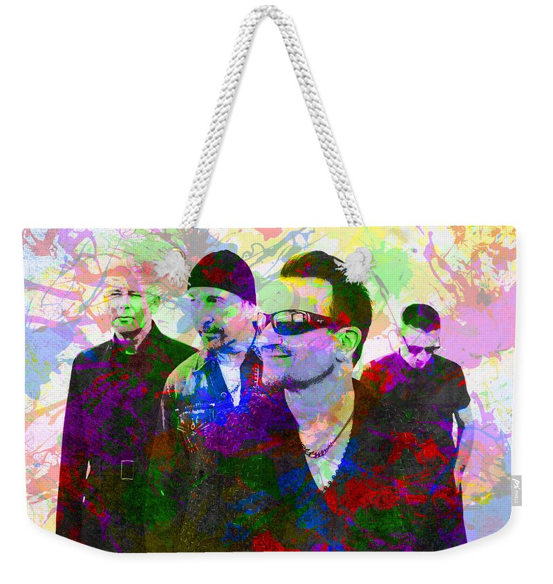 U2 Weekender Tote Bag featuring the mixed media U2 Band Portrait Paint Splatters Pop Art by Design Turnpike