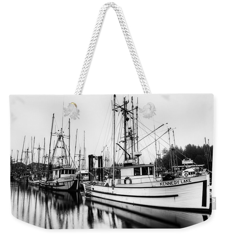 Boats Weekender Tote Bag featuring the photograph Ucluelet Harbour - Vancouver Island Bc by Mark Kiver
