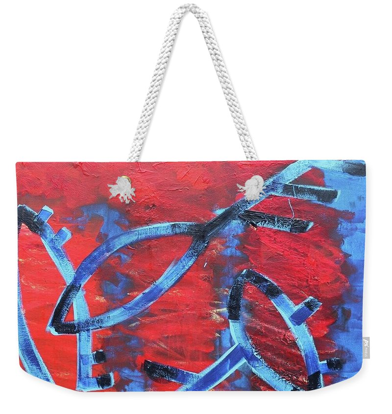 Ufo. Petroglyphs. Signed. Fly. Red. Weekender Tote Bag featuring the painting UFO by Mikhail Yevdakov