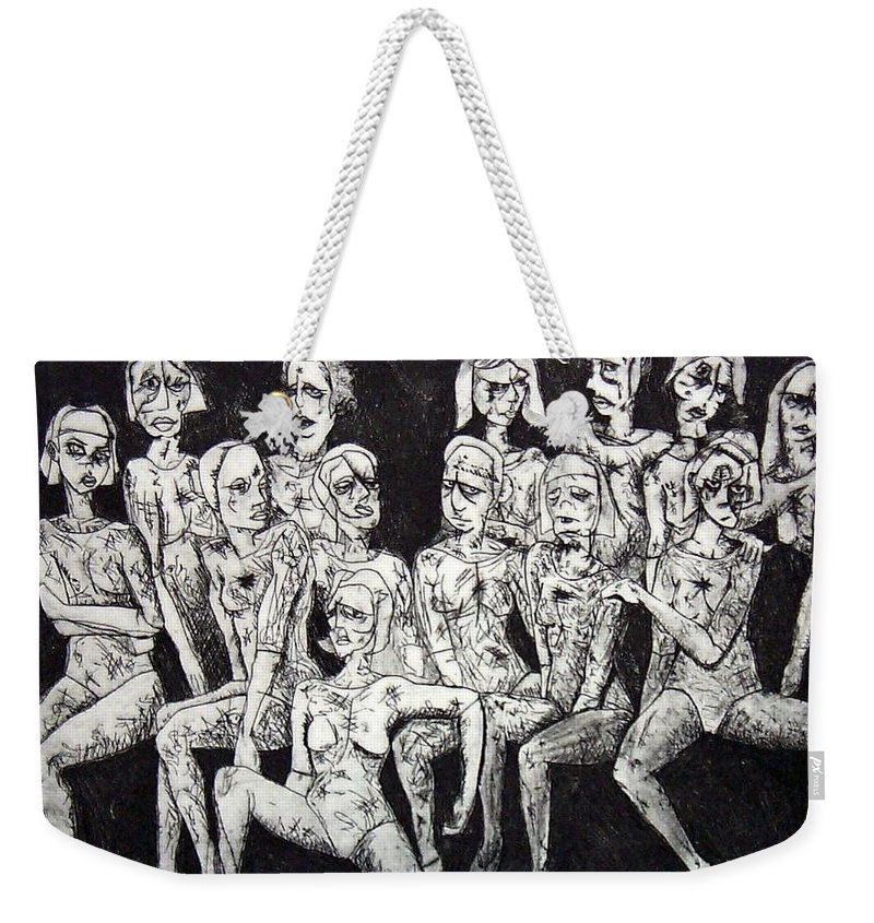 Etching Weekender Tote Bag featuring the print Ugly Girls by Thomas Valentine
