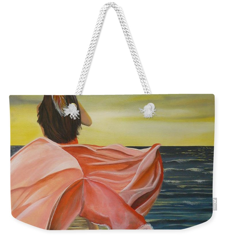 Sunset Weekender Tote Bag featuring the painting Uhane O Ka Welo by Kris Crollard