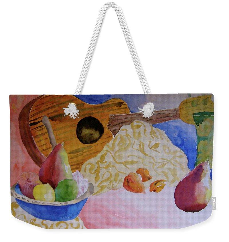 Ukelele Weekender Tote Bag featuring the painting Ukelele by Beverley Harper Tinsley