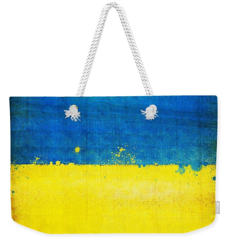 Chalk Weekender Tote Bag featuring the painting Ukraine Flag by Setsiri Silapasuwanchai