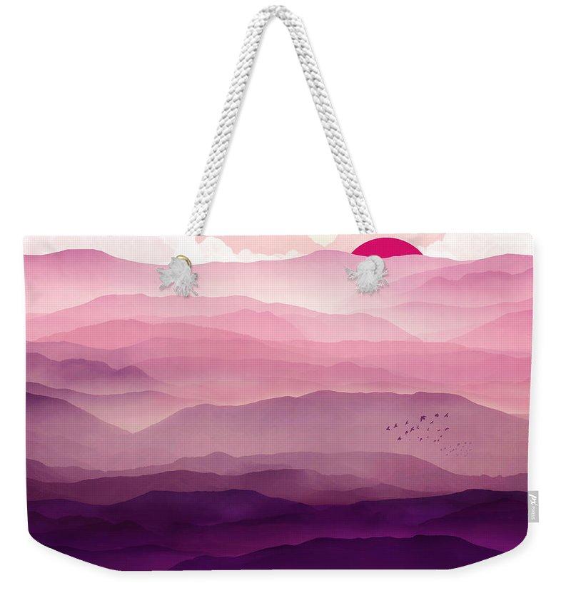 Violet Weekender Tote Bag featuring the digital art Ultraviolet Day by Spacefrog Designs
