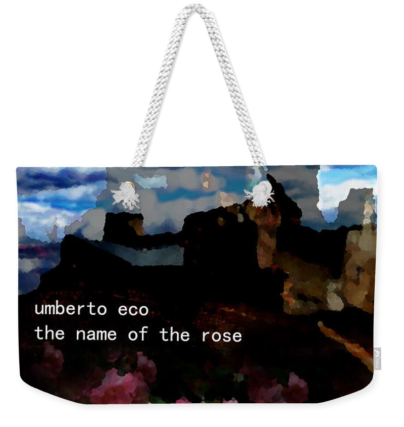 Umberto Eco.italy Weekender Tote Bag featuring the painting Umberto Eco Poster by Paul Sutcliffe