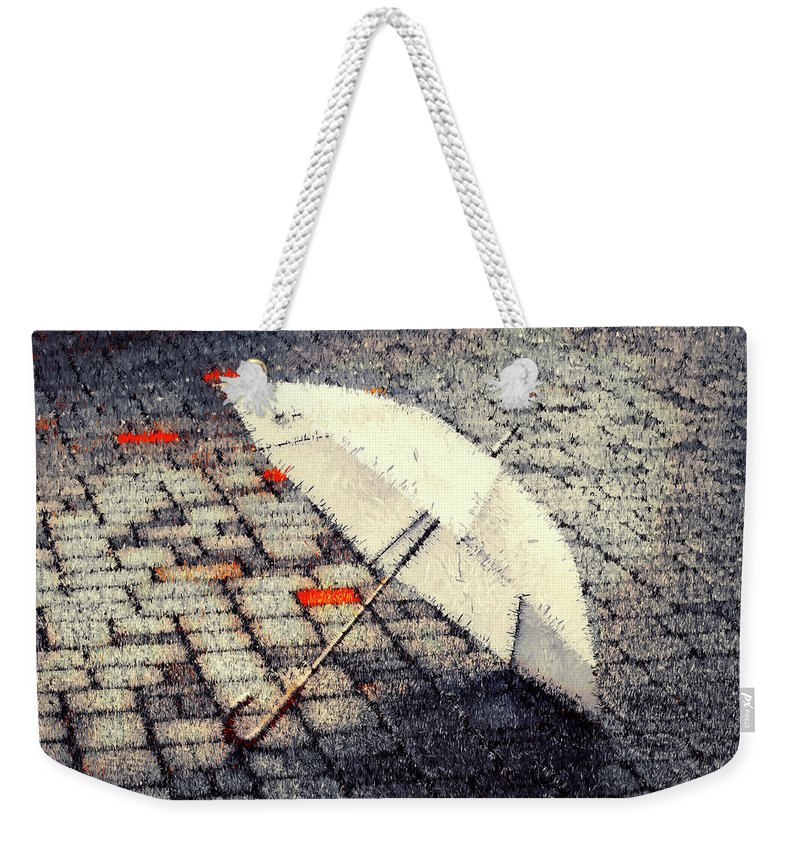 #umbrella#rain#city#bricks#colours#texture#art#abstract#digital#loneliness#mood#white#red# Weekender Tote Bag featuring the digital art Umbrella... by Aleksandrs Drozdovs