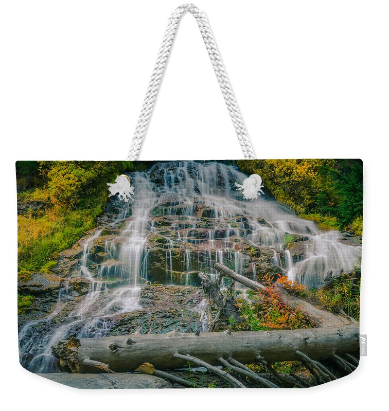 Mt. Hood National Forest Weekender Tote Bag featuring the photograph Umbrella Falls by Don Schwartz