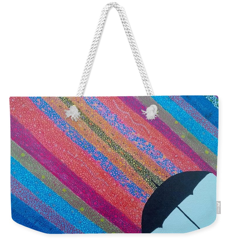 Abstract Weekender Tote Bag featuring the painting Umbrella by John Cunnane