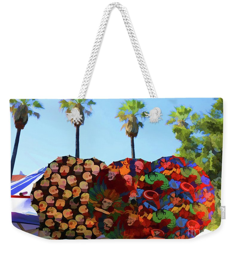 Dia De Los Muertos Weekender Tote Bag featuring the photograph Umbrellas Day Of The Dead Paint by Chuck Kuhn
