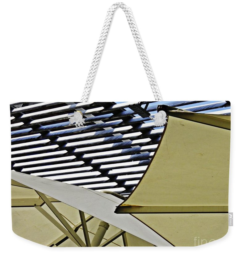Umbrella Weekender Tote Bag featuring the photograph Umbrellas by Sarah Loft