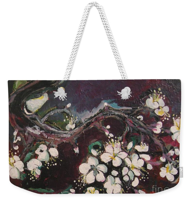 Ume Blossoms Paintings Weekender Tote Bag featuring the painting Ume Blossoms by Seon-Jeong Kim