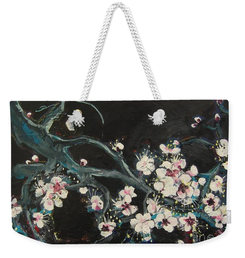 Ume Blossoms Paintings Weekender Tote Bag featuring the painting Ume Blossoms2 by Seon-Jeong Kim
