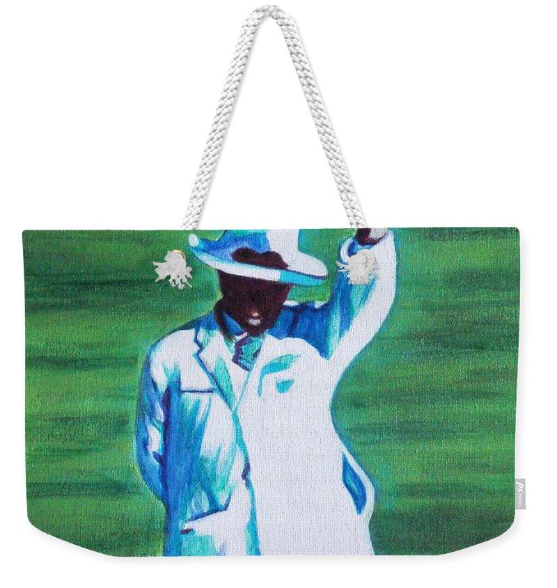 Usha Weekender Tote Bag featuring the painting Umpiring by Usha Shantharam