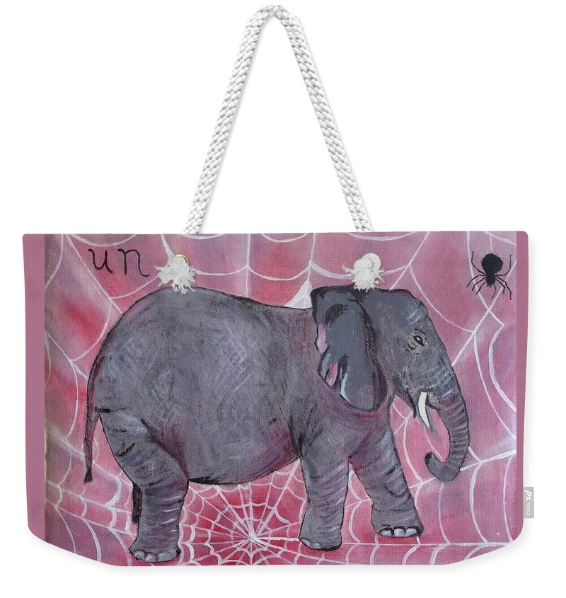 Elephant Weekender Tote Bag featuring the painting Un by Eve Schambach