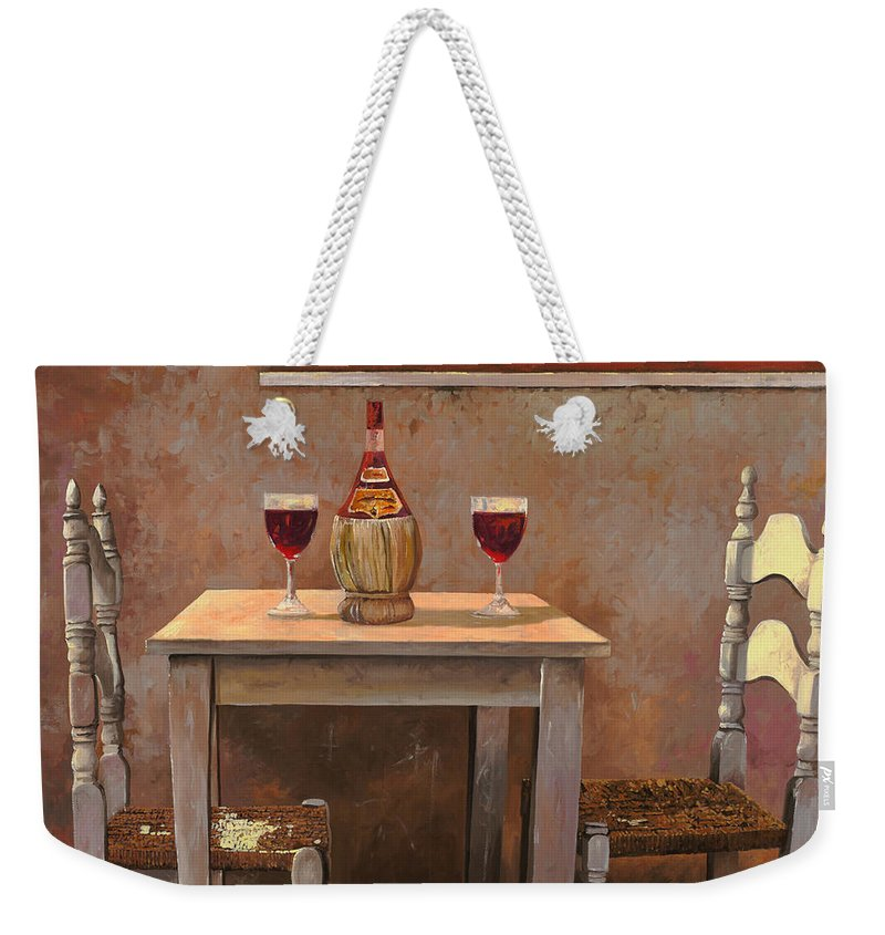 Chianti Weekender Tote Bag featuring the painting un fiasco di Chianti by Guido Borelli