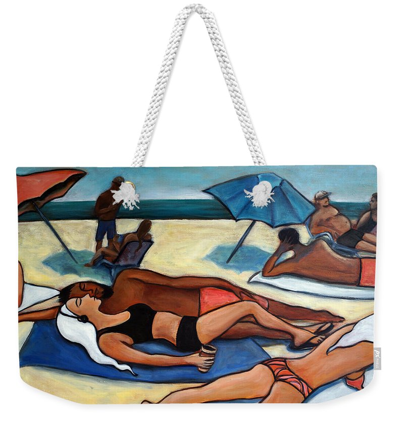Beach Scene Weekender Tote Bag featuring the painting Un Journee A La Plage by Valerie Vescovi