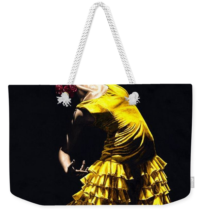 Flamenco Weekender Tote Bag featuring the painting Un Momento Intenso Del Flamenco by Richard Young