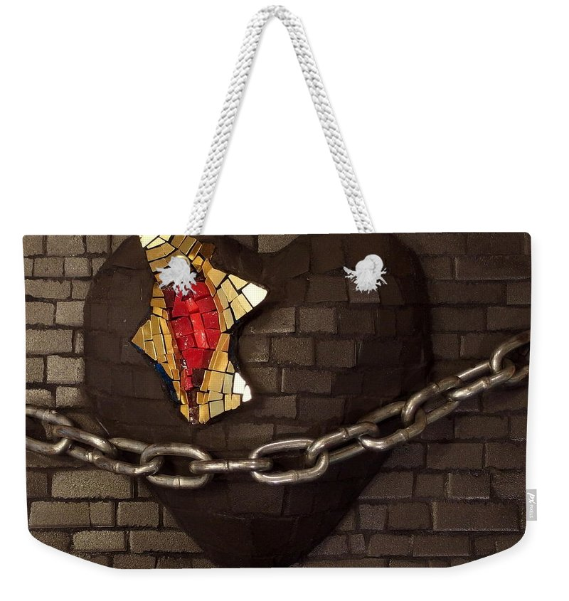 Unchain Weekender Tote Bag featuring the relief Unchain My Heart by Julie Mazzoni