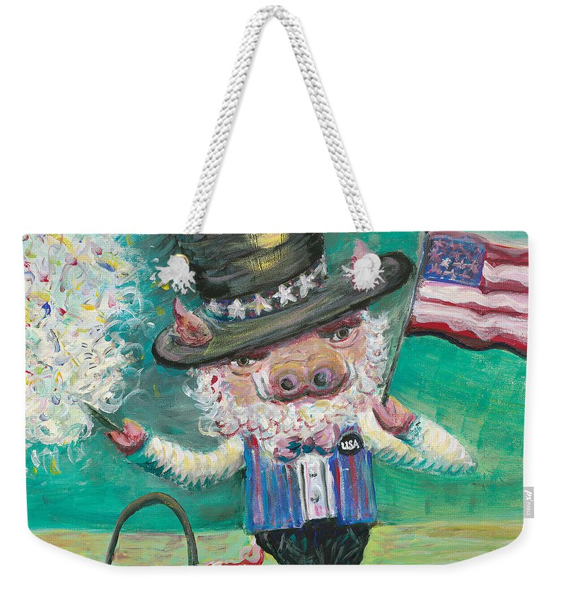 Fourth Of July Weekender Tote Bag featuring the painting Uncle Spam by Nadine Rippelmeyer