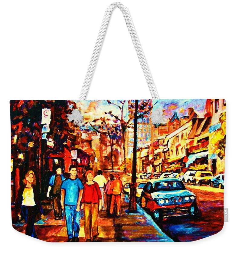 Montrealstreetscene Weekender Tote Bag featuring the painting Under A Crescent Moon by Carole Spandau