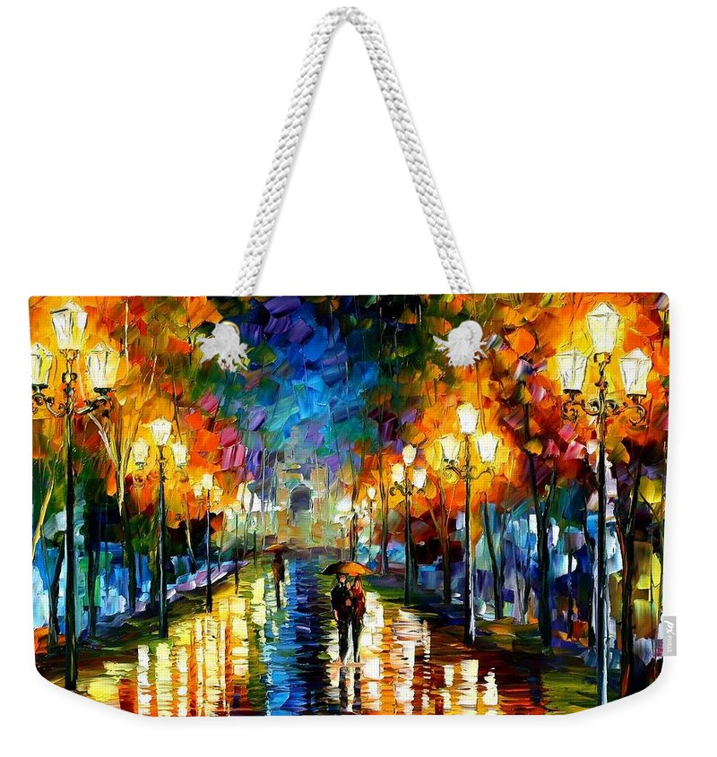Afremov Weekender Tote Bag featuring the painting Under Brown Umbrella by Leonid Afremov