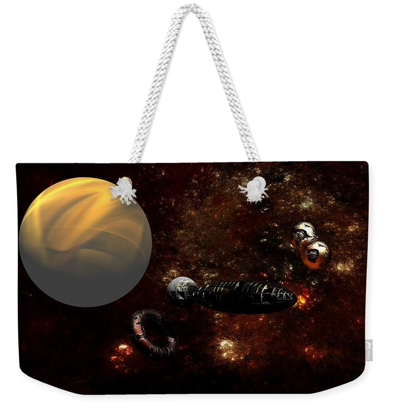 Science Fiction Weekender Tote Bag featuring the digital art Under Construction by David Lane