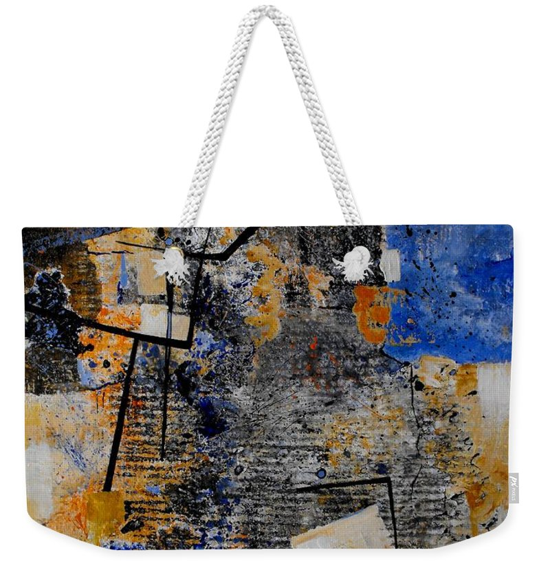 Abstract Weekender Tote Bag featuring the painting Under Construction by Ruth Palmer