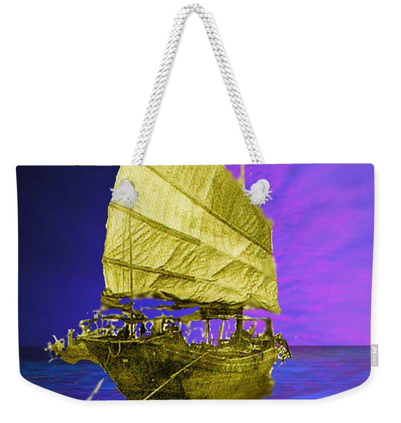 Nautical Weekender Tote Bag featuring the digital art Under Golden Sails by Seth Weaver