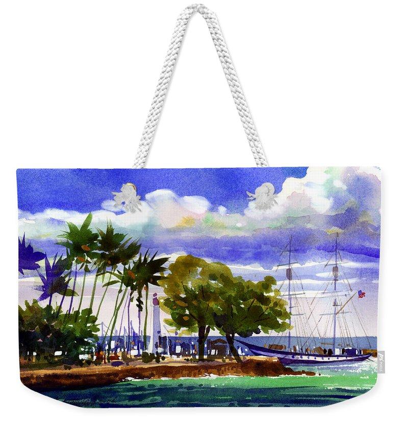 Maui Weekender Tote Bag featuring the painting Under Maui Skies by Lee Klingenberg