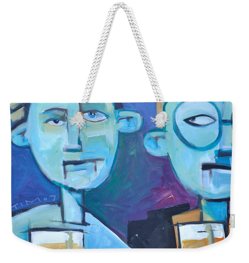 Men Weekender Tote Bag featuring the painting Under Scrutiny by Tim Nyberg