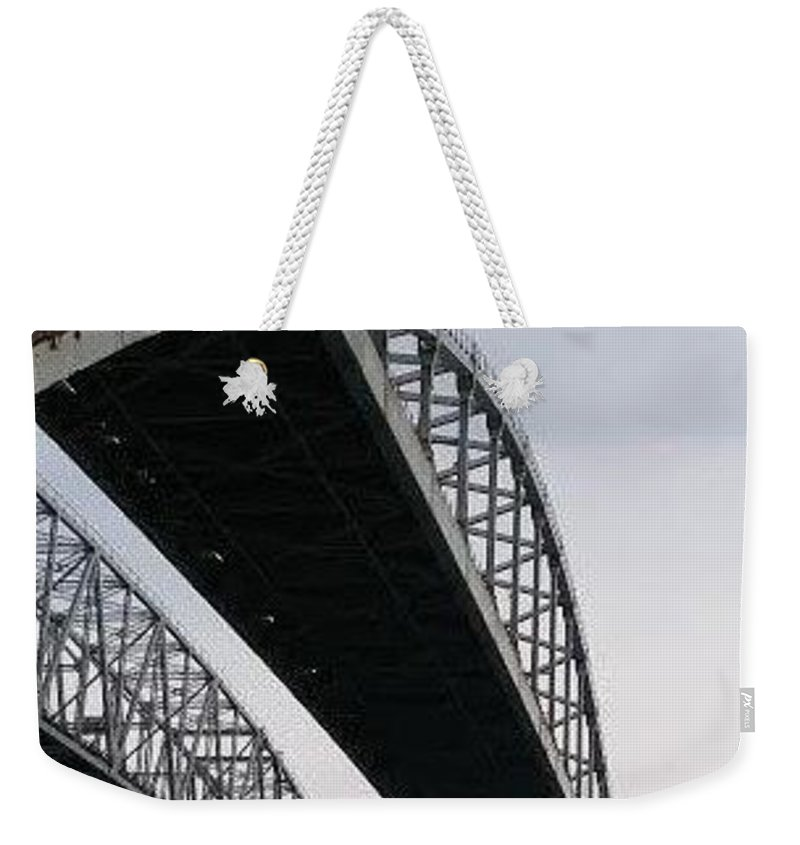 Weekender Tote Bag featuring the photograph Under The Blue Water Bridge by Patty Robbins
