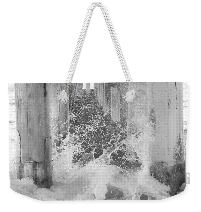 Black And White Weekender Tote Bag featuring the photograph Under The Boardwalk by Rob Hans