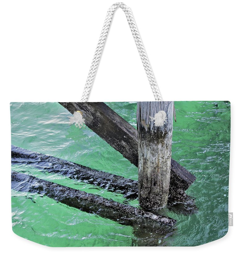 Water Weekender Tote Bag featuring the photograph Under The Boardwalk by Stephen Mitchell