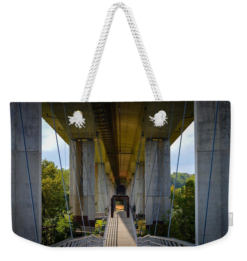 Richmond Weekender Tote Bag featuring the photograph Under The Bridge by Aaron Dishner