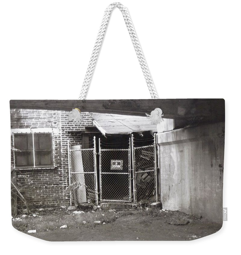 Black And White Photograph Weekender Tote Bag featuring the photograph Under The Bridge by Thomas Valentine