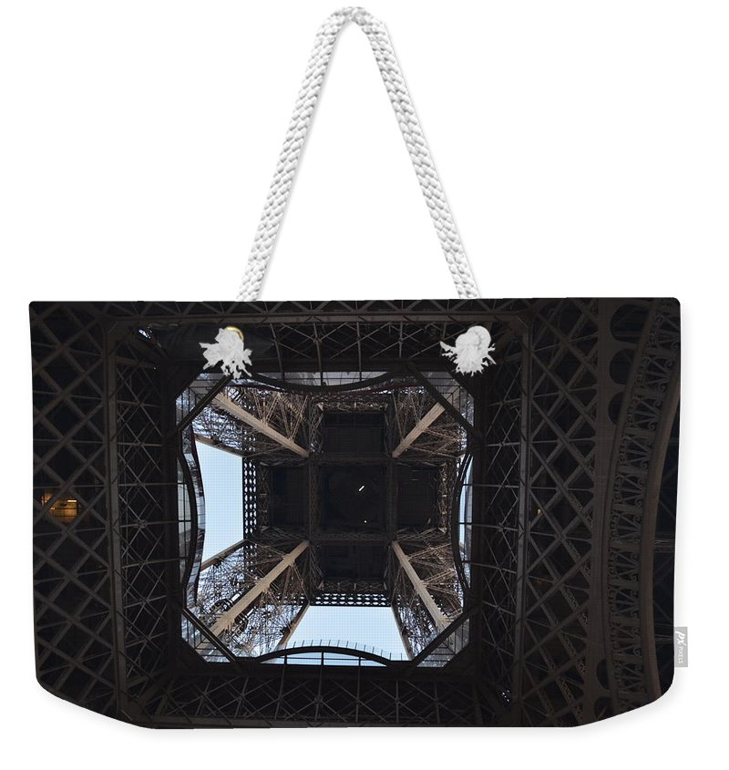 Eiffel Tower Weekender Tote Bag featuring the photograph Under The Eiffel by Dawn Crichton