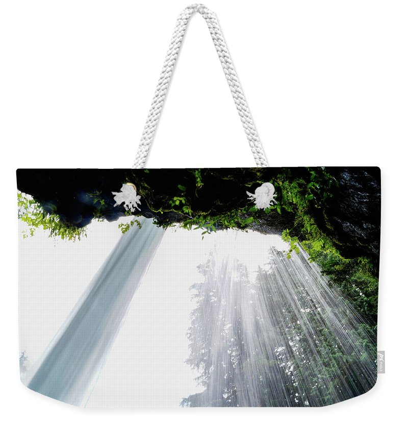 Tim Dussault Weekender Tote Bag featuring the photograph Under The Falls by Tim Dussault