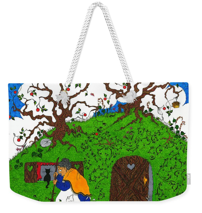 Whimsical Weekender Tote Bag featuring the mixed media Under The Hill by Michele Sleight