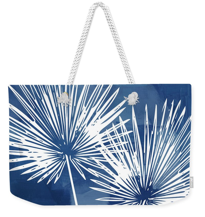 Tropical Weekender Tote Bag featuring the mixed media Under The Palms- Art by Linda Woods by Linda Woods
